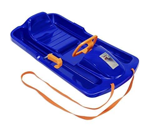 Der KHW Snow Fox Kunststoffrodel mit Lenkrad und Bremsen ist auch für kleine Kinder leicht zu bedienen.