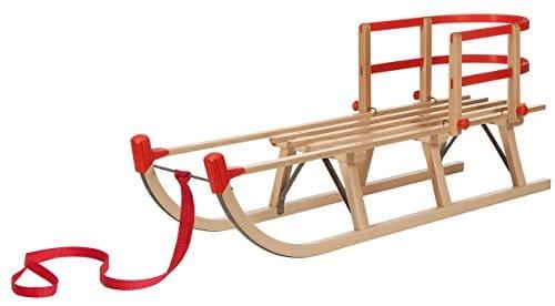 Impag® Holzschlitten: Davoser Rodel mit Zuggurt und Lehne – und damit auch für Kleinkinder und Babys geeignet!